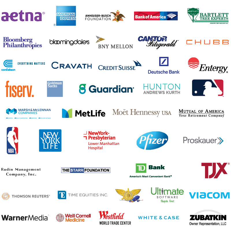Corporate logos in alphabetical order include Aetna; American Express; Anheuser Busch Foundation; Bank of America; Bartlett Tree Experts; Bloomberg Philanthropies; Bloomingdale's; BNY Mellon; Cantor Fitzgerald; Chubb Con Edison; Cravath, Swaine and Moore LLP; Credit Suisse; Deutsche Bank; Entergy; Fiserv; Goldman Sachs; Guardian; Hunton Andrews Kurth LLP; Major League Baseball; Marsh and McLennan Companies; MetLife; Moët Hennessy USA; Mutual of America; National Basketball Association; New York Life; NewYork-Presbyterian Lower Manhattan Hospital; Pfizer; Proskauer Rose LLP; Rudin Management; The Starr Foundation; TD Bank; The TJX Companies; Thomson Reuters; Time Equities; TWU Local 556; Ultimate Software; Viacom; WarnerMedia; Weill Cornell Medicine; Westfield World Trade Center; White and Case LLP; Zubatkin Owner Representation