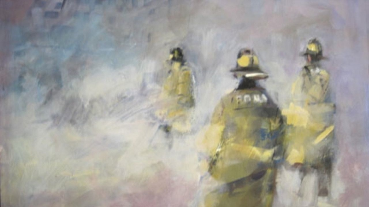 An artist's painting shows three yellow-clad firemen disappearing into a smokey scene.